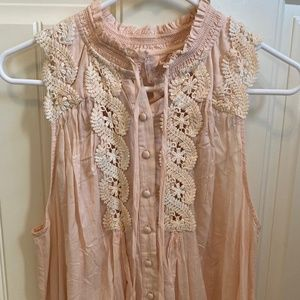 New Free People pink sleeveless lace top